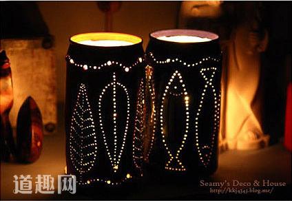 创意DIY:啤酒罐制作很温馨的烛光小罩